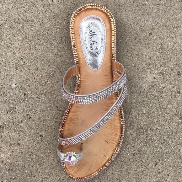 7f9672c5a Toe ring rainbow rhinestone soft thong sandal ✨